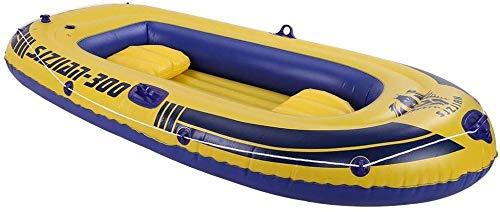 XLXay 3-4 Person Schlauchboot Verdicktes Fischerboot Gummiboot PVC-Kajak mit Paddelboot einfach zu Falten für bequemen Lagertransport Heavy Duty Maximale Belastung: 700kg (4 Erwachsene) (Gelb)-Gelb