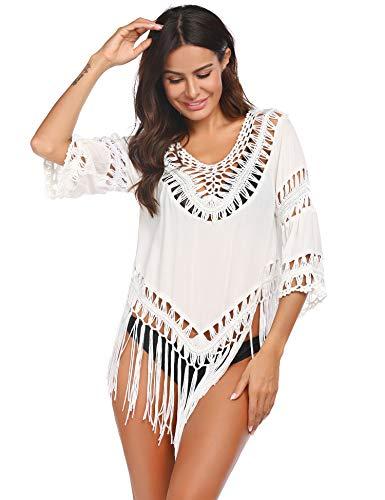 ADOME Tunika Damen Bikini Cover Up Gestrickte Top Strandponcho Boho Strandkleid Sexy Oberteil Kurz Sommeroutfit Cardigan Bluse mit Quaste,Weiß-durchsichtig,42-44 (XXL)