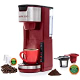 Mixpresso Single Serve 2 in 1 Coffee Brewer K-Cup Pods Compatible & Ground Coffee,Compact Coffee Maker Single Serve With 30 oz Detachable Reservoir, 5 Brew Size and Adjustable Drip Tray (Red)