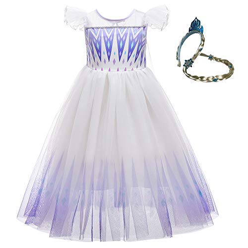 Disfraz de Elsa blanco para niñas, vestido de princesa de la reina de la nieve con volantes, para niños