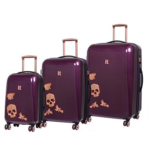 IT Luggage Candy Skull Set of 3 Expandable Hardshell Four Dual Wheel...