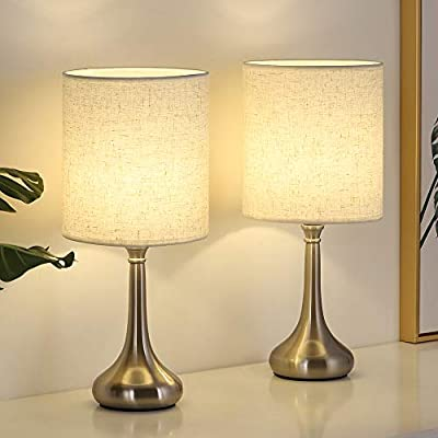 Small Table Lamps Set of 2 for Bedroom, Metal Desk Lamp with Linen Lampshade on Bedside, Coffee Table, Dresser, Study Desk for Kid's Room, Living Room, College Dorm, Silver