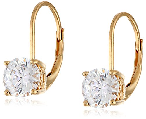 Yellow Gold Plated Sterling Silver Lever back Earrings set with Round Swarovski Zirconia (2 cttw)