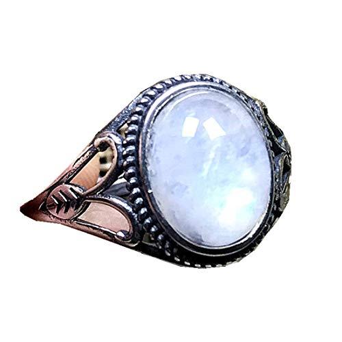 DUOVEKT Anillo de piedra lunar natural de 10 mm, plata esterlina, arco iris, piedra lunar, joyería de cristal para mujer, hombre, piedra ovalada, anillo ajustable AAAAA