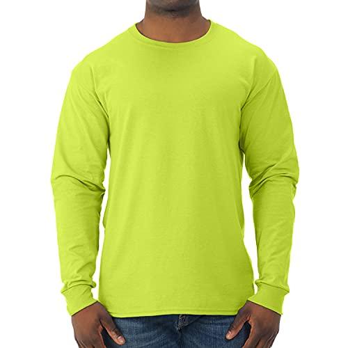 Jerzees Men's Dri-Power Long Sleeve T-Shirt, Safety Green, Large