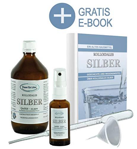 Liquid for Life® Kolloidales Silber 25ppm - 250ml Silberwasser inklusive 30ml Sprühflasche - Zubehör in STRAHLENSCHUTZVERPACKUNG