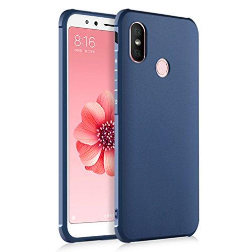 FaLiAng XiaoMi Mi A2 Funda, Serie Negocios A Prueba de Choques Ultra Fino Suave Silicona Contraportada Caso para XiaoMi Mi A2 (Azul)