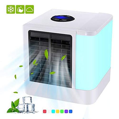 YaoLAN 3-in-1 aircooler luchtbevochtiger en luchtreiniger 375 ml capaciteit, 3 snelheden, 7 kleuren LED draagbare mobiele airconditioning voor woonkamer kantoor