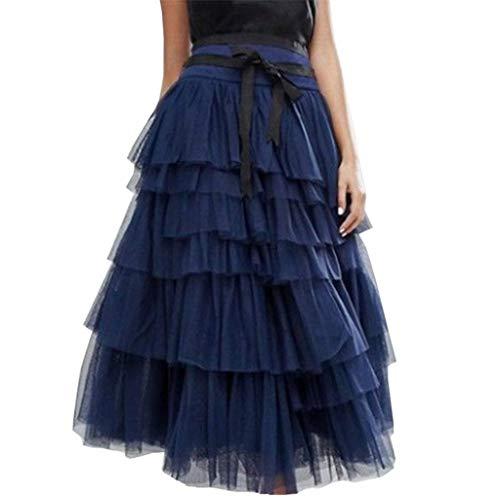 DEELIN Gonna Donna Elegante Gonna Lunga di Tulle Elastico in Vita Stile Casual Vintage Irregolare Colore Solido Pieghe Sottoveste Tutu