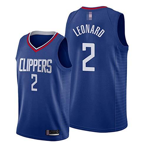 Camisetas De Baloncesto para Hombres, Los Angeles Clippers # 2 Kawhi Leonard - NBA Classic Sport Chaleco Tops Comfort Tirable Sin Mangas Camiseta Uniformes,Azul,XL(180~185CM)