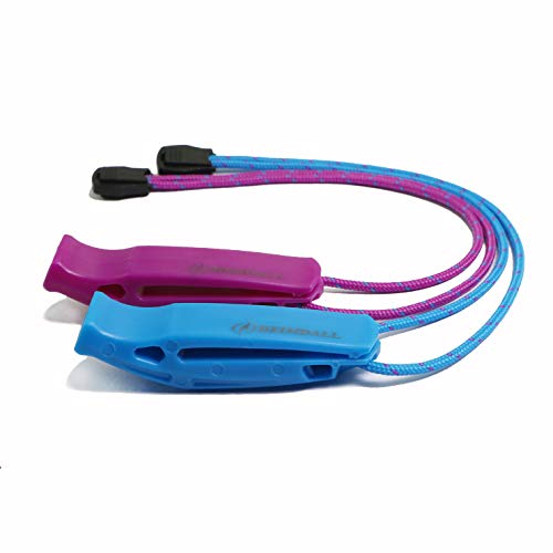 HEIMDALL Emergency Survival Whistle with Lanyard (2 Pack) for Safety Boating Camping Hiking Hunting Rescue Signaling (Blue, Purple).