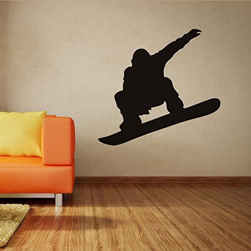 Sport Wallpaper Snowboard Player Silhouette schwarz Jungen Geschenk Vinyl PVC Schlafzimmer Sport Center im Freien Platz Wandbild Dekor