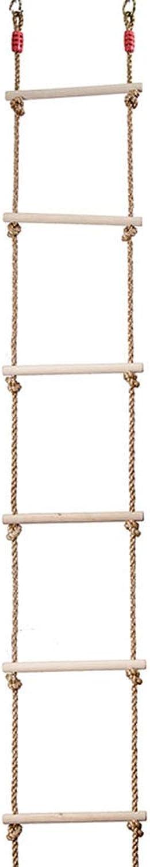 WJQ Kinder Holz Strickleiter-6 Leiter Hochwertige Holzstange Dauerhafte Oberflche Glatt - Belastung 120Kg - Sehr geeignet für das Klettern im Freien Baumhaus (bis zu 200cm)