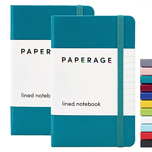 """2-Pack Pocket Notebook Journal Notepad Small, College Ruled, 3.7"""" x 5.6"""", Hard Cover Mini Journal, 100 GSM Thick Paper, Inner Pocket (Turquoise, Lined)"""