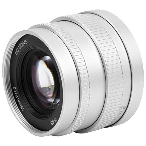 Lente de Gran Apertura, Vidrio óptico de 35 mm F1.2-F16 Montura M4 / 3 Lente de cámara de Retrato Manual de Gran Apertura, para G1 / G2 / G3 / G5 / G6 / G7 / G85 / GF1 / GF2 / GF3 (Plata)