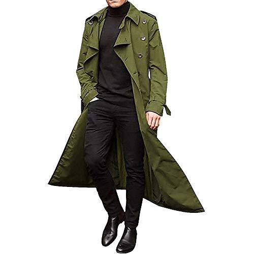Trench Coat da Uomo Moda Monopetto con Cintura Trench Coat Cappotto Lungo Classico Slim Fit Doppiopetto con Risvolto