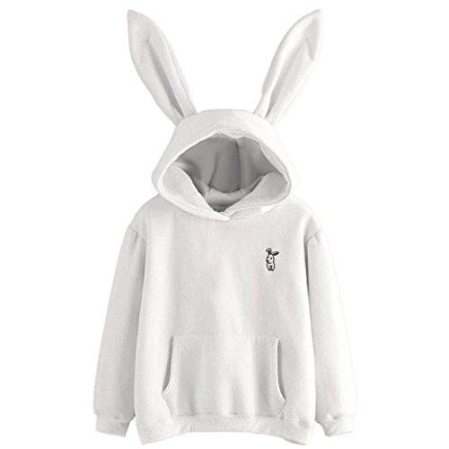 VEMOW Damen Hoodies, Langarm Cute Kaninchen Ohr Weiß Sweatshirt Tops Bluse (Weiß, XL/40)