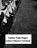 Guitar Tabs Paper Guitar Tablature Notebook: Cool Electric Guitar 100 page 8.5 x 11 blank Guitar sheet music composition manuscript diary journal ... blank staffs staves & space for title.