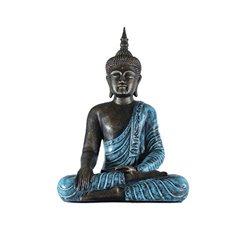 Edenjardi Figura de Buda decoración en Color Turquesa | 65 cm de Alto