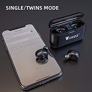 Wireless Bluetooth Earbuds with Mic, WSHDZ T7 Touch Control Waterproof Immersive Bass Stereo Long Battery Headphones, Portable Charging Case with LED Display, Headset for Sports, Android, iPhone Black