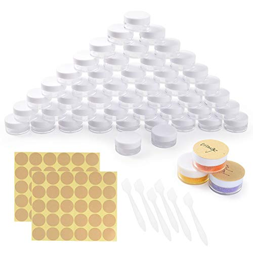 Colmanda 60 Stück Döschen, 5ml Leere Döschen Cremedose Leer Tiegel Plastik Döschen mit 6 Mini-Spatel und Aufkleber für Lotion Creme Mini-Kerzen Kosmetik - Weiß