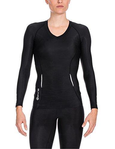 SKINS A200 Top de Compression Manches Longues Femme, Noir/Noir, FR : XS (Taille Fabricant : FXS)