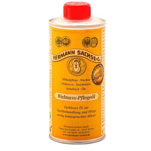 Hermann Sachse Walnuss - Pflegeöl - 250ml - Veganes farbloses Holzöl für Holzflächen - Holzpflegeöl Möbelöl - Made in Germany