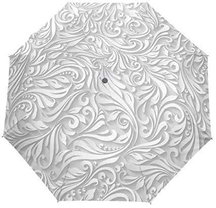 QIXIAOCYB Completo Automático 3D Floral Blanco Sol Chino Sombrilla 3 Paraguas Plegables Rain Mujeres Anti UV Viaje al Aire Libre Artículo 5 Pintura de Secado rápido / 2 (Color : 8)