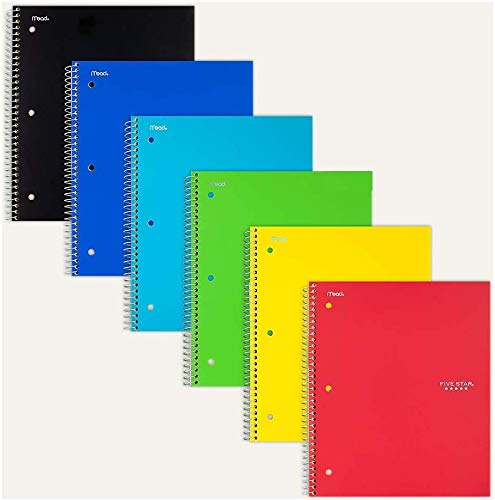 """Five Star 06190 11"""" X 8-1/2"""" Graph Ruled 1 Subject Notebook Assorted Colors (Pack of 5)"""