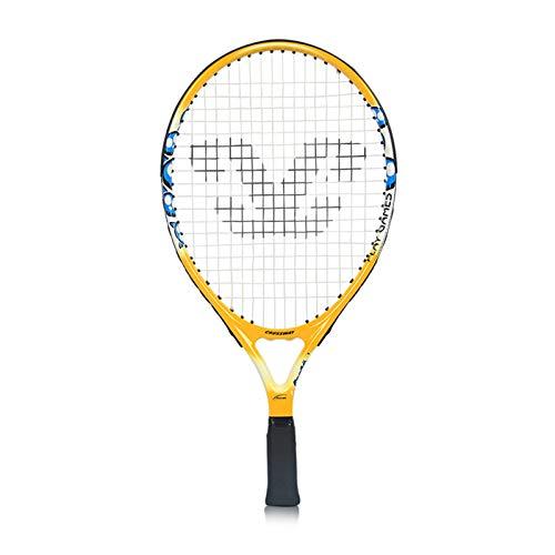 Mikelabo - Raqueta de tenis para niños, color amarillo con amortiguador, raqueta de tenis para playa