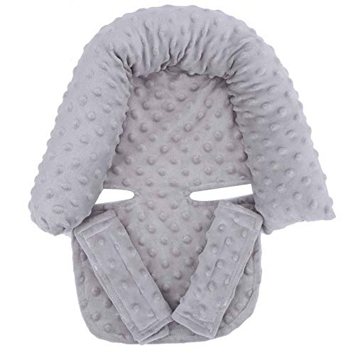 Cochecito de bebé Liner Head Pillow Seat Cojín Crystal Terciopelo/Poliéster, Relleno de algodón Pp para bebés recién nacidos(gray, Baby headrest)