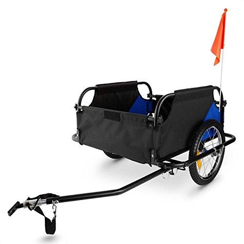 Duramaxx Mountee - Remorque de vélo, Attelage à vélo, Capacité 130L, Charge Max. 60kg, Toile en Nylon, Roues de 16', Protection Anti-Pluie Incluse, Pliable, Poids env. 13,2kg, Bleu