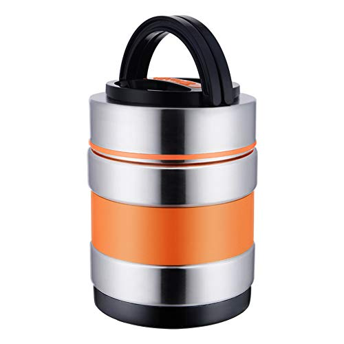 GUTYRE Ultimative vakuumisolierte, doppelwandige Isolier-Brotdose aus Edelstahl für Lebensmittelflaschen, Isolierbehälter für heißes Mittagessen in der Schule,Orange,1.8L