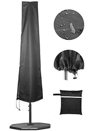 Premium Parasol déporté Coque étanche Housse de protection Premium pour parasol 600D Oxford Chiffon avec protection UV Protectant et fermeture Éclair complète 205 cm, Noir