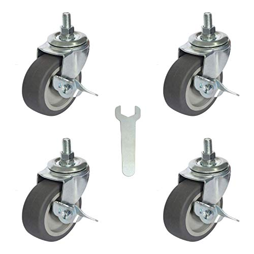 AAGUT 3 Inch Rubber Heavy Duty Casters 3/8'-16 x 1' Threaded Stem Castors, Locking Swivel Replacement for Furniture, Workbench, 4 Pack