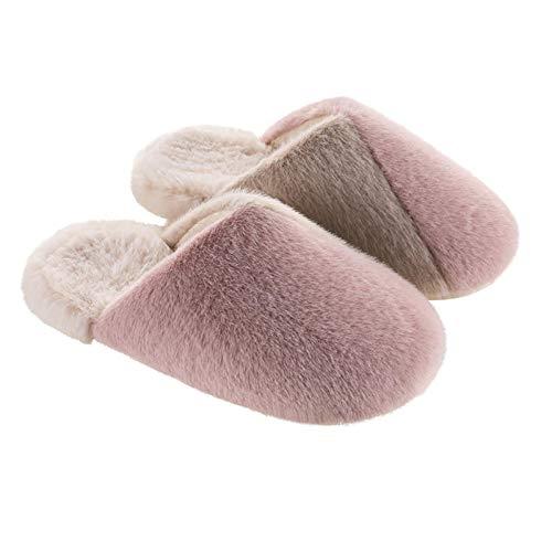 XZDNYDHGX Zapatillas de Espuma para Hombre,Zapatos de casa de Invierno para Pareja Felpa Suave, Zapatillas de Interior Chanclas para Mujer Rosa EU 36-37