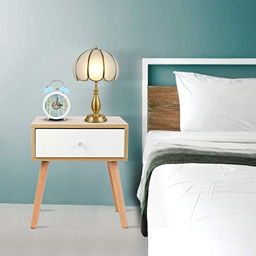 Simple Modern Bedside Table Night Stand with Single Drawer, Household Bedside Sofa Side Night Table for Living Room Bedroom, Cabinet Drawer Storage Nightstand Table Simple Exquisite Design 40*35*50cm