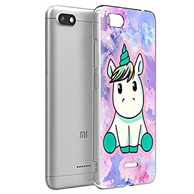 ZhuoFan Funda Xiaomi Redmi 6A, Cárcasa Silicona Transparente con Dibujos Diseño Suave TPU Antigolpes de Protector Piel Case Cover Bumper Fundas para Movil Xiaomi Redmi6A 2019, Pretty Unicornio