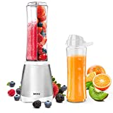 MONJ Personal Countertop Blender forJuicer, Shakes and Smoothies, 300W Single Serve Small Blender with 2x20oz Tritan BPA-Free Sports Bottles-white