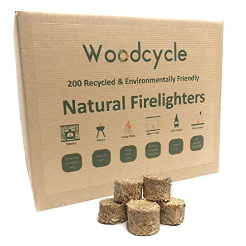 Woodcycle Recycelte Öko-Feueranzünder, umweltfreundlich, 200 Stück