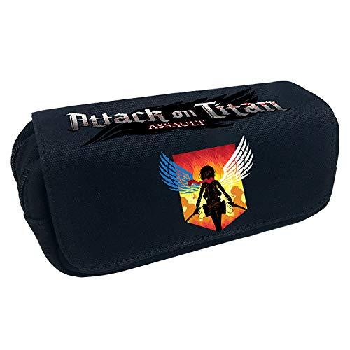 Attack on Titan Estuche de Lápices Estuche de lápices de Gran Capacidad con Bolsillos de Malla con Cremallera Doble Dentro de los artículos de Escritorio para Estudiantes