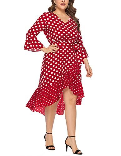 Mujer Talla Grande Lunares Irregular Manga Larga Vestido Elegante Señoras Otoño Volantes Boho Vestidos V-Cuello Vestido (Rojo,4XL,4XL)