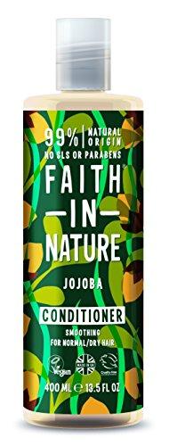Faith in Nature, 100% natuurlijke haarspoeling met jojoba voor alle haartypes, voor veelvuldig wassen, vrije sulfaten, vrij parabenen, veganistisch