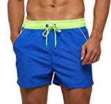 SILKWORLD Men's Swimming Shorts Quick Dry Solid Swimsuit Swim Trunks with Mesh Lining and Zipper Pockets, Dark Blue-New, Medium