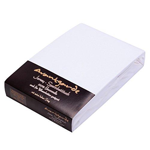 Avantgarde SPANNBETTLAKEN FÜR WASSERBETT & BOXSPRINGBETT - EXTRA HOHER Steg - 180x200-200x220 - ca. 170g/m² - Öko Tex Zertifikat Bettlaken - 100% Jersey-Mako-Baumwolle, Farbe: weiß