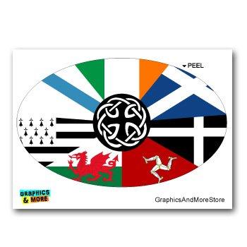 Graphics and More Celt Irish Ireland Pan-Celtic Nation Flags Euro Oval - Window Bumper Locker Sticker