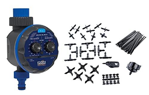 Aqua C4109 Programador de Riego para Jardín Modelo Acorazado para Todo Tipo de Grifos, Abre a 0 Bar + KITG002 Pack Básico de Accesorios de 4 mm para Todo Tipo de riego por Goteo Gota, Negro