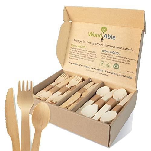 Disposable Wooden Forks, Spoons, Knives Set