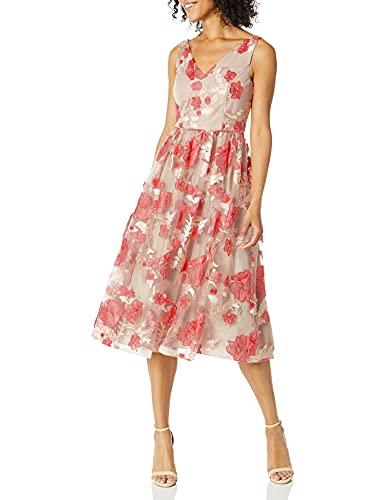 Calvin Klein Women's Sleeveless V-Neck Embroidered Party Dress, Porcelain Rose Multi, 12