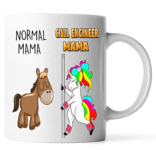 N\A Taza de café Normal Mama and Civil Engineer Mama Unicorn. Taza para Abuelas, mamás, Mimi, Gigi, Nana - cumpleaños, Navidad, día de la Madre, Taza de jubilación - Elemiah Hester (Blanco, 11